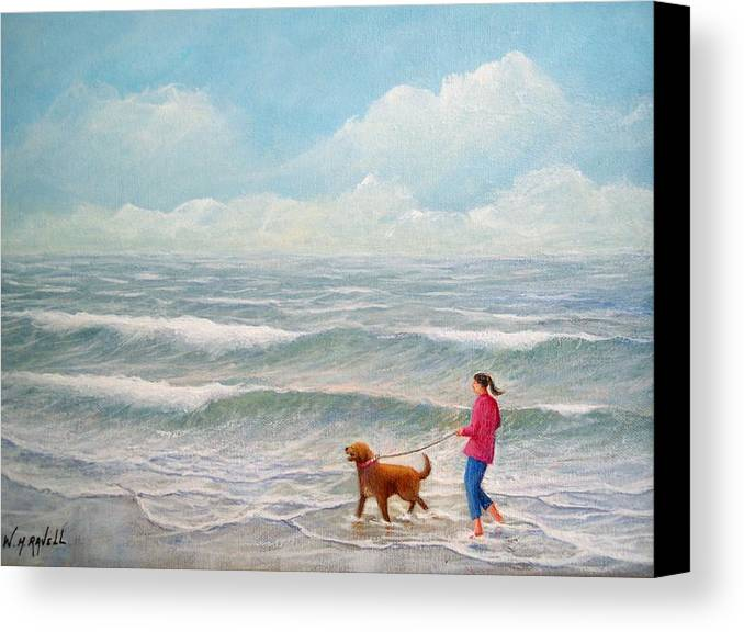 Seascape Canvas Print featuring the painting Wading With Willy by William H RaVell III