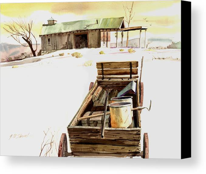 Watercolor Canvas Print featuring the painting Wagon At White Sands by John Norman Stewart