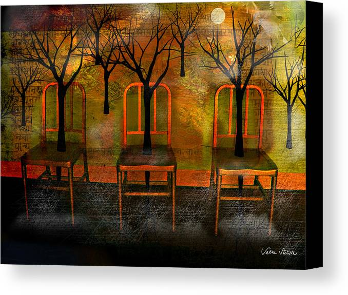 Moon Canvas Print featuring the digital art Waiting For A Miracle by Sabine Stetson