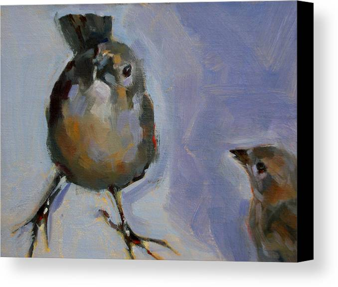 Birds Canvas Print featuring the painting Waiting For Snacks by Merle Keller