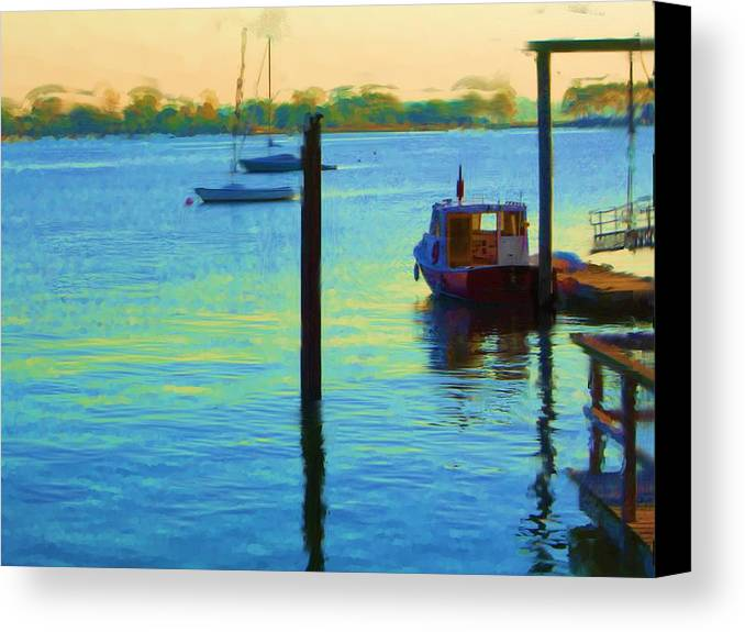 Canvas Print featuring the painting Waiting For You To Escape City Island Ny by Jonathan Galente