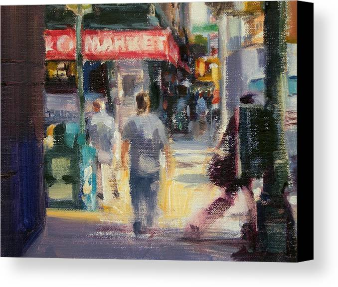 Cityscape Canvas Print featuring the painting Walking In The West Village by Merle Keller