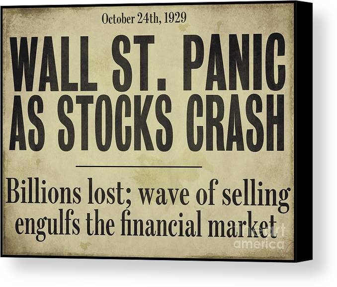 Wall Street Crash 1929 Newspaper Painting by Mindy Sommers