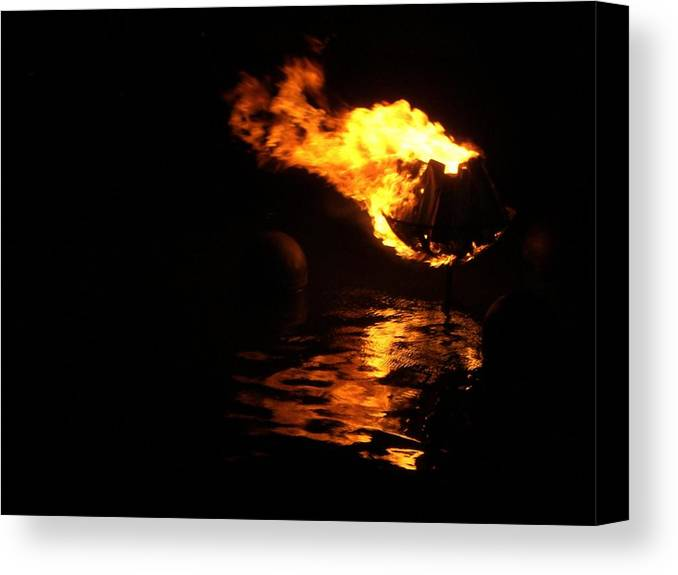 Brazier Canvas Print featuring the photograph Waterfire 2007-1 by Nancy Ferrier
