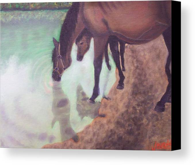 Horses Water Land Scape Reflection Canvas Print featuring the painting Watering Hole by Charles Vaughn