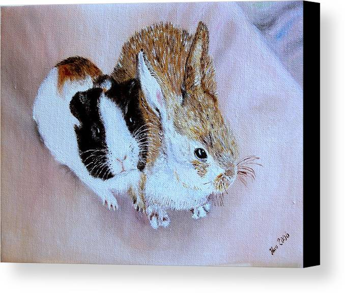 Pets Canvas Print featuring the painting Wendy And Bobby by Helmut Rottler