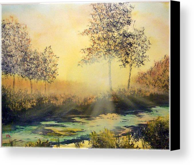 Sunset Canvas Print featuring the painting When The Sun Goes Down by Kenneth McGarity