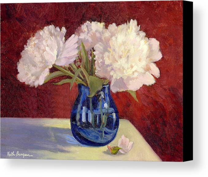 Peonies Canvas Print featuring the painting White Peonies by Keith Burgess