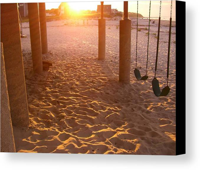 Swings Canvas Print featuring the photograph Whitehorse Beach - Swings by Nancy Ferrier