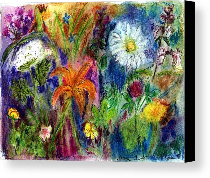 Wildflower Canvas Print featuring the painting Wild Backyard Meadow by Diana Ludwig