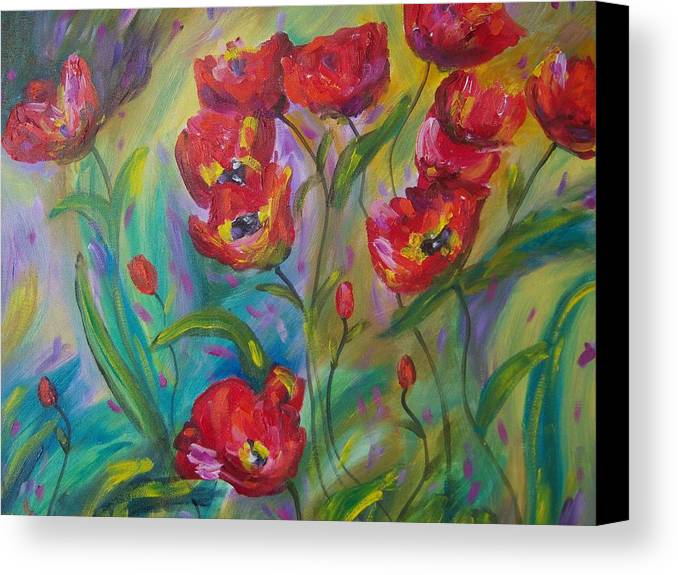 Poppy Canvas Print featuring the painting Wild Poppies by Renee Gandy