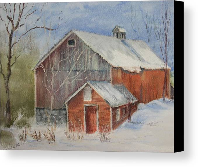 Barn Canvas Print featuring the painting Williston Barn by Carol Mueller