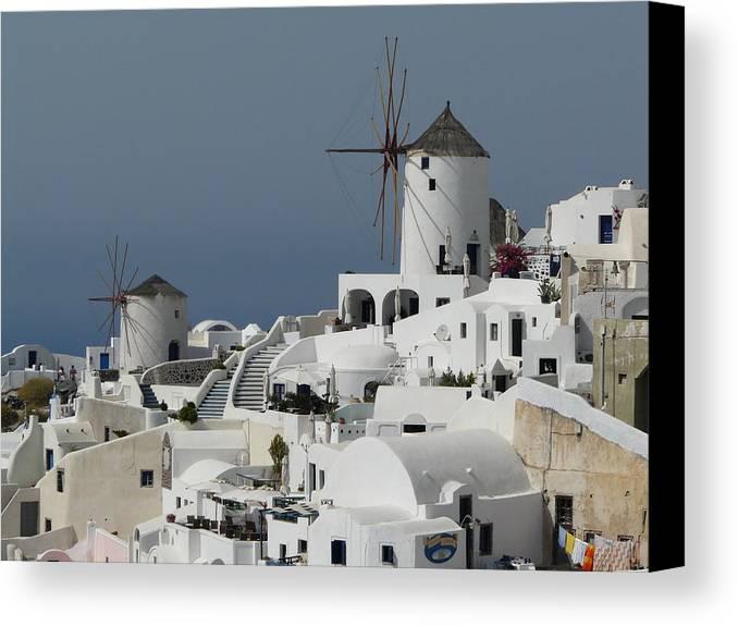 Santorin Canvas Print featuring the photograph Windmills Of Santorini by Valerie Ornstein