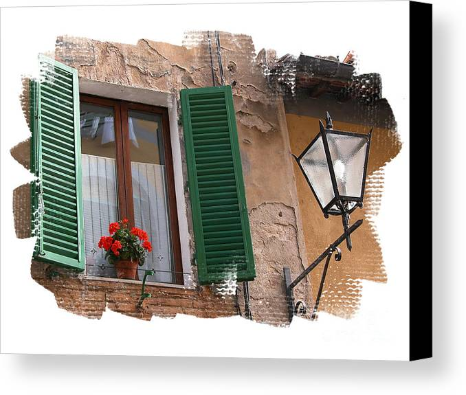 Window Canvas Print featuring the photograph Window Siena Italy by Jim Wright