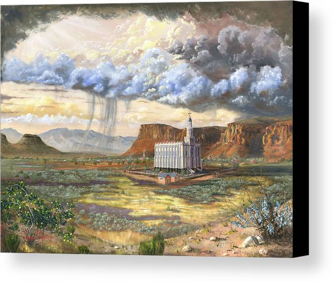 St. George Temple Canvas Print featuring the painting Windows Of Heaven by Jeff Brimley