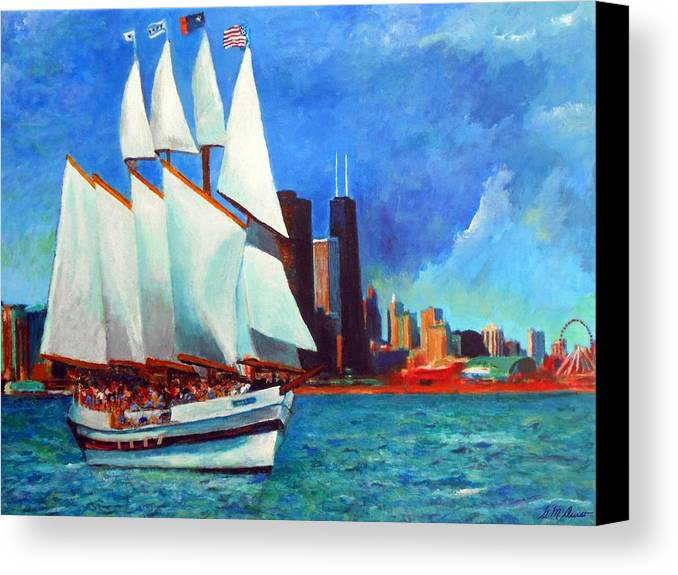 Windy Canvas Print featuring the painting Windy In Chicago by Michael Durst