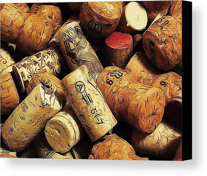 Corks Canvas Print featuring the photograph Wine And Champagme Corks by Cathie Tyler
