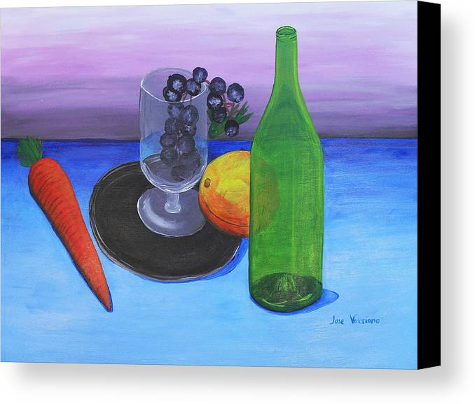 Acrylic Canvas Print featuring the painting Wine Glass And Fruits by M Valeriano