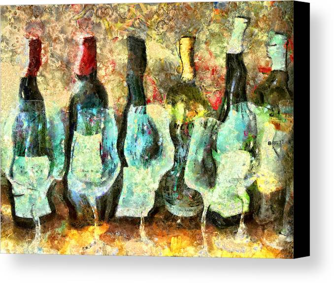 Wine Canvas Print featuring the mixed media Wine On The Town by Marilyn Sholin