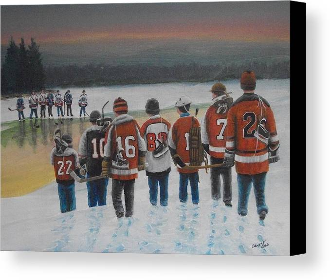 Winter Canvas Print featuring the painting Winter Classic 2012 by Ron Genest
