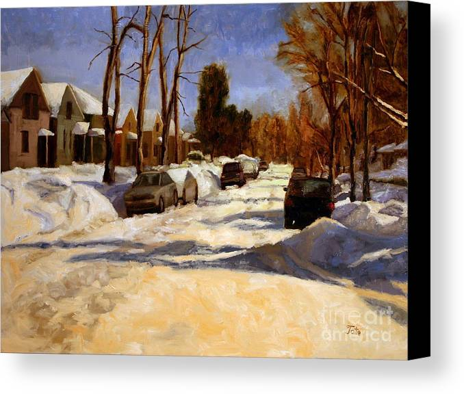 Snow Canvas Print featuring the painting Winter In The Highlands by Tate Hamilton
