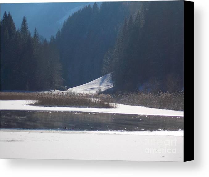 Winter Canvas Print featuring the photograph Winter Lake 1 by Angelika Heidemann