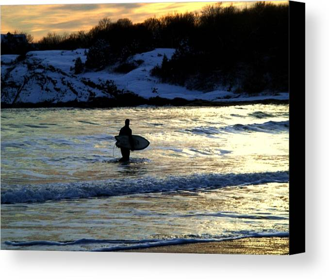 Winter Canvas Print featuring the photograph Winter Surfing by Heidi Kummer