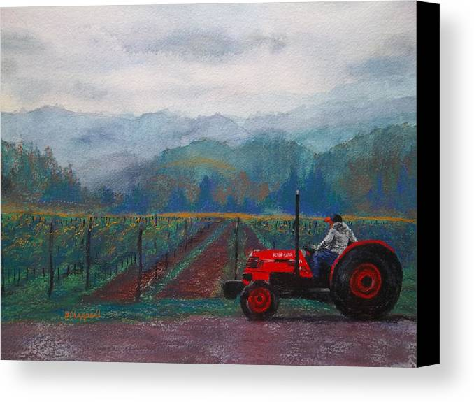 Vineyard Canvas Print featuring the painting Working The Vineyard by Becky Chappell