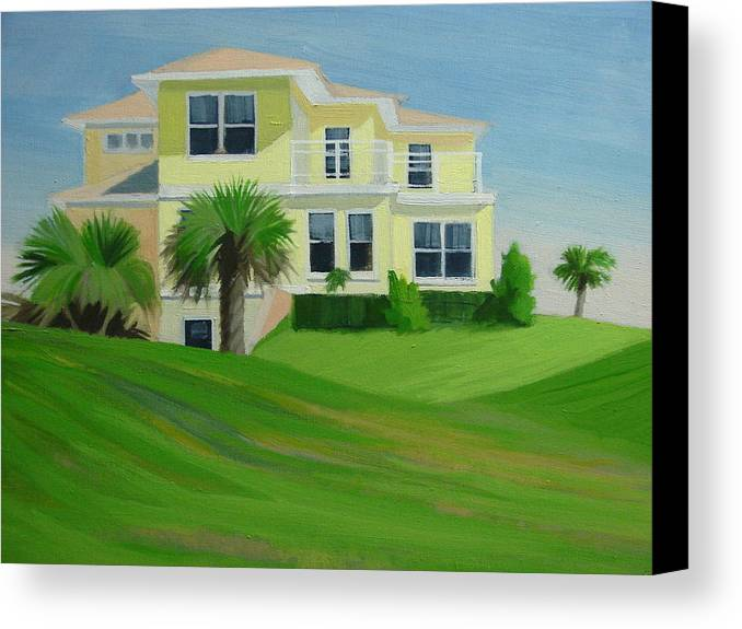 House Canvas Print featuring the painting Yellow House by Robert Rohrich