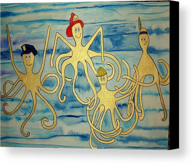 Octopus Canvas Print featuring the painting Ymca Octopai by Erika Swartzkopf