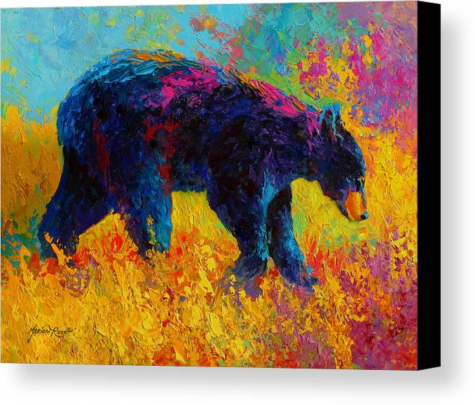 Bear Canvas Print featuring the painting Young And Restless - Black Bear by Marion Rose