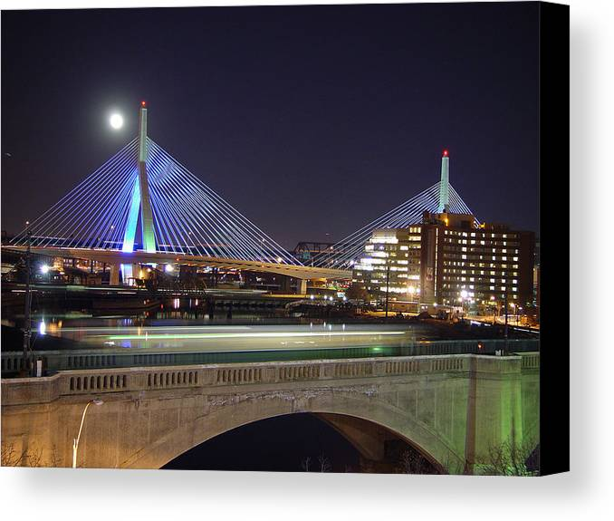 Night Canvas Print featuring the photograph Zakim Bridge by Eric Workman