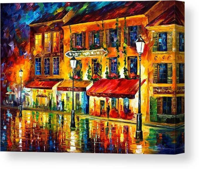 Afremov Canvas Print featuring the painting Paris Night Montmartre by Leonid Afremov