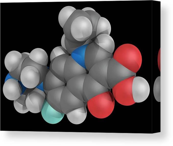 Artwork Canvas Print featuring the photograph Ciprofloxacin Drug Molecule by Laguna Design/science Photo Library