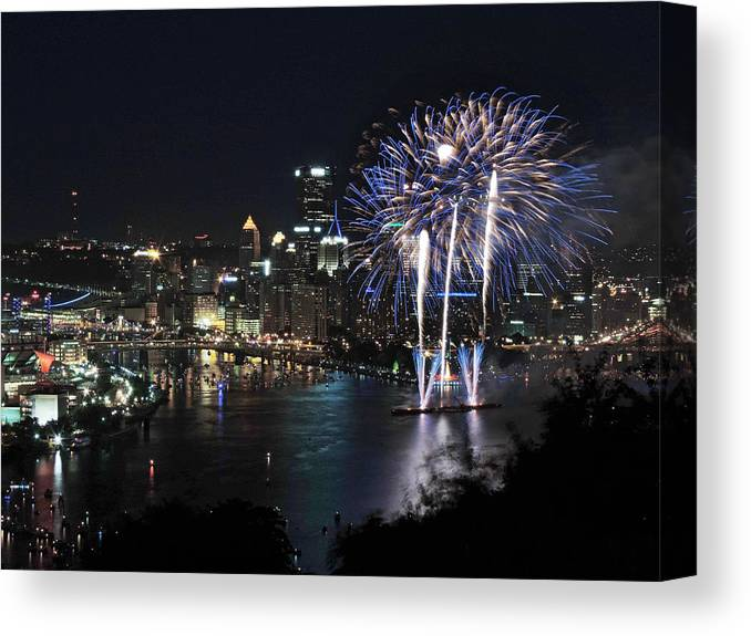 City Canvas Print featuring the photograph Pittsburgh Fireworks At Night by Cityscape Photography