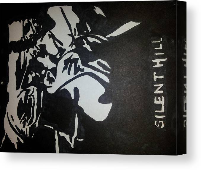 Silent Hill Canvas Print featuring the drawing Silent Hill by Dark designs Sharpie art