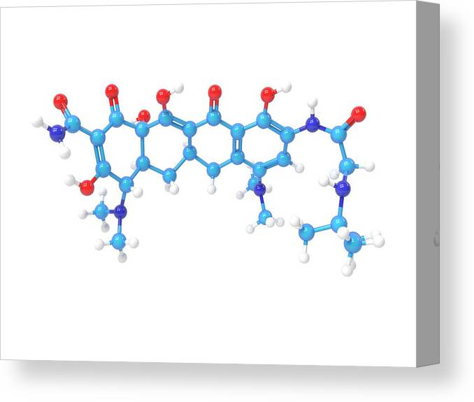 Antibacterial Canvas Print featuring the photograph Tigecycline Antibiotic Molecule by Indigo Molecular Images