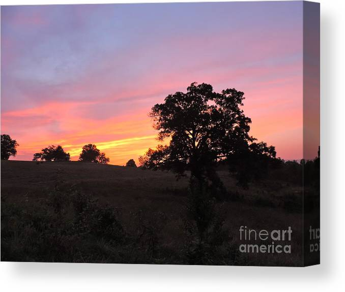 Canvas Print featuring the pyrography Farm Sunset by Frank Conrad