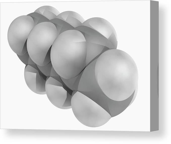 Artwork Canvas Print featuring the photograph Hexane Molecule by Laguna Design/science Photo Library