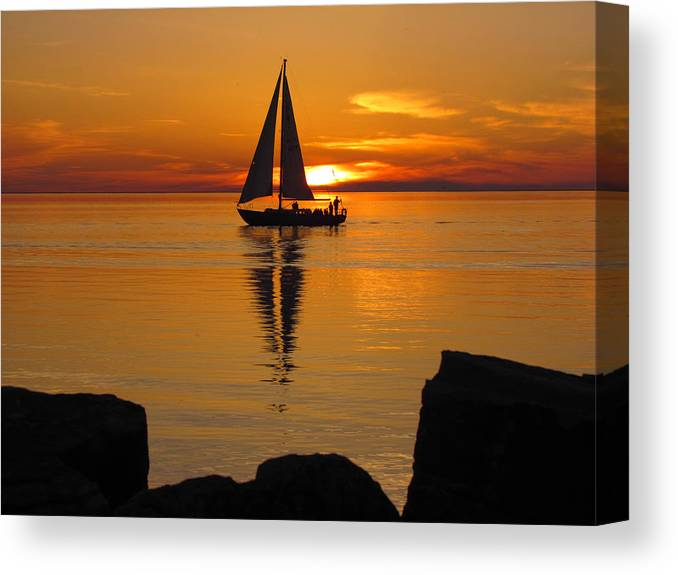 Sister Bay Marina Canvas Print featuring the photograph Sister Bay Sunset Sail 2 by David T Wilkinson