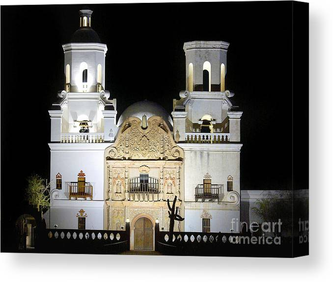 The Mission At Night Canvas Print featuring the photograph The Mission At Night by Douglas Taylor