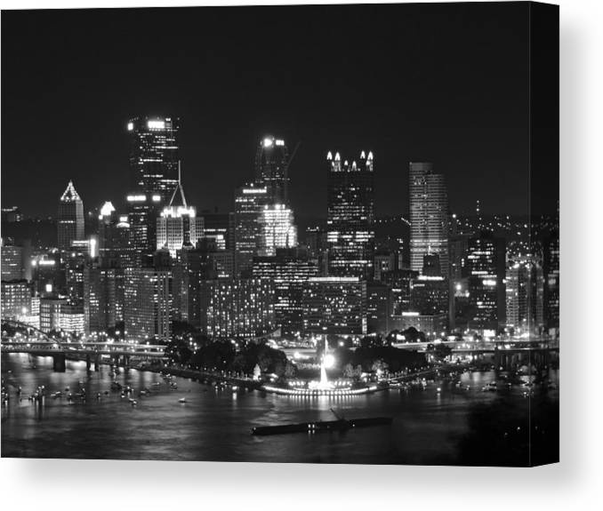 City Canvas Print featuring the photograph Pittsburgh Skyline At Night by Cityscape Photography