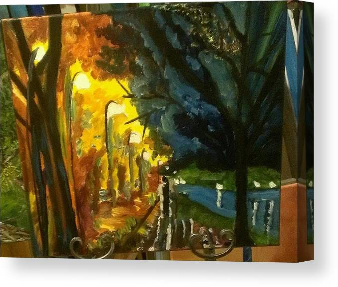 City Lights Canvas Print featuring the painting A Nights Eve. by Dawn Stephenson