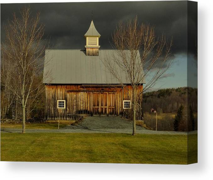 Barn Canvas Print featuring the photograph A Snowless Winter Morning by Mark J Curran