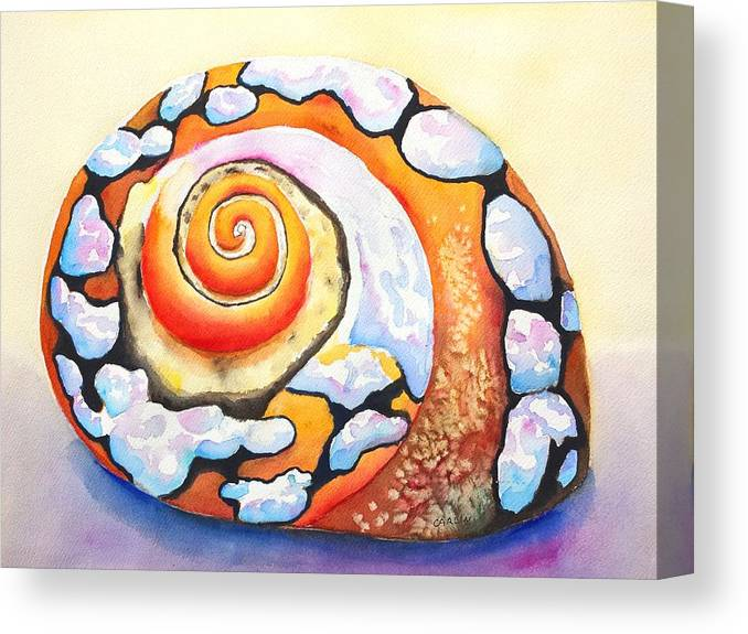Shell Canvas Print featuring the painting African Turbo Shell by Carlin Blahnik CarlinArtWatercolor