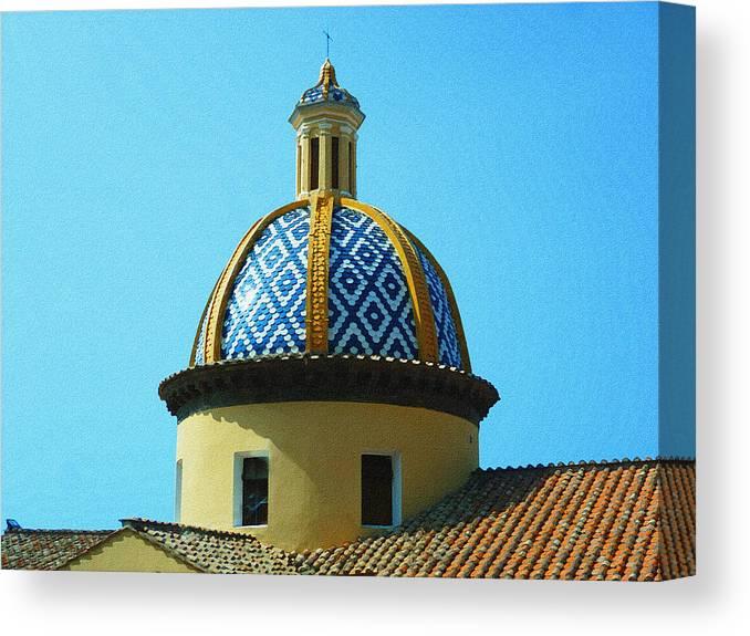 Italy Canvas Print featuring the photograph Amalfi Coast Church Italy by Irina Sztukowski