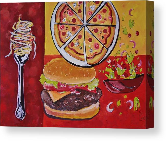American Food Canvas Print featuring the painting American Food Pop Art by Shannon Lee