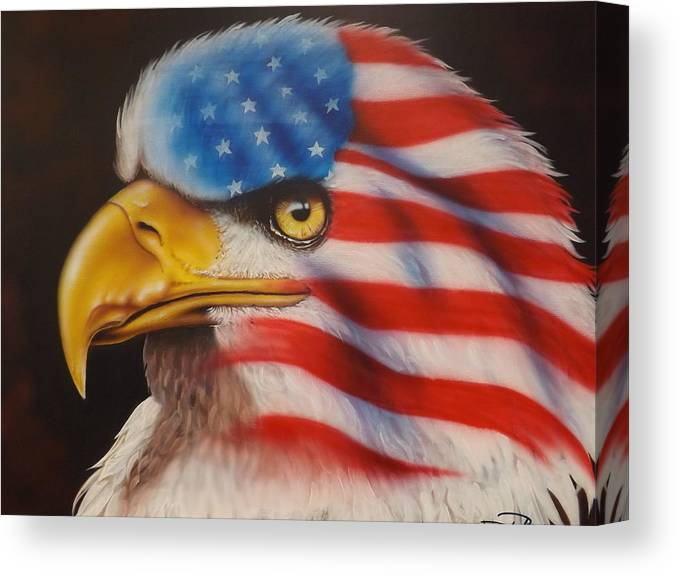 Eagle Canvas Print featuring the painting American Pride by Darren Robinson