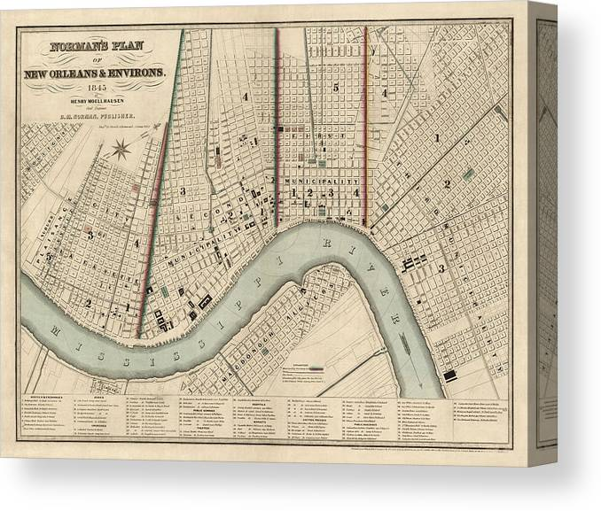 Antique New Orleans Map.Antique Map Of New Orleans By Balduin Mollhausen 1845 Canvas Print