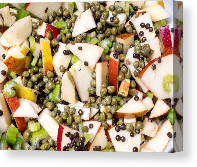 Appetizer Canvas Print featuring the photograph Apple Salad With Capers And Leaf Celery by Frank Bach